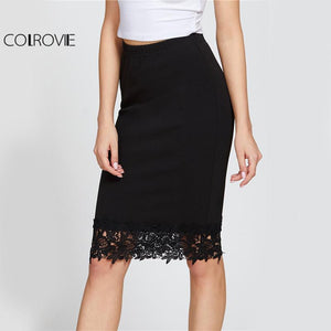 Black Elegant Lace Pencil Skirt Elastic High Waist Women Floral Shapemodkily-modkily
