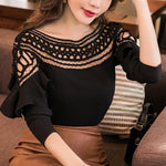 2018 New Chiffon Blouses Shirts Women Spring Ruffle Long Sleeve Ladies Topsmodkily-modkily