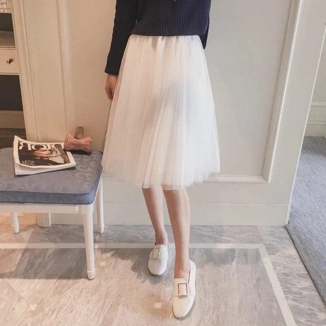 Knee Length Tulle Skirts Womens Black Gray White Elastic High Waistmodkily-modkily