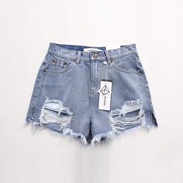 Fashion Summer Denim Womens Shorts Sexy Butt Ripped Jeans Shorts Fringe Highmodkily-modkily