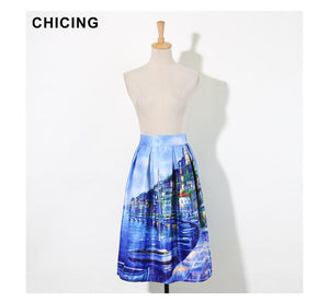 Vintage Printed Midi Skirts Summer 2018 Designer High Waist Pleated Skatermodkily-modkily