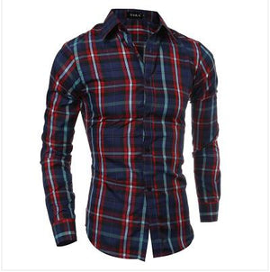 2018 Autumn Winter New Men Plaid Slim Fit Casual Long Sleeve Shirtmodkily-modkily