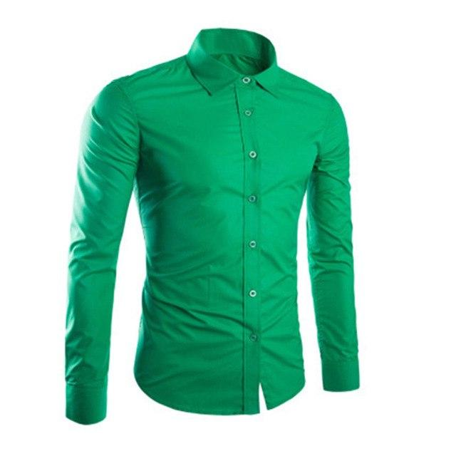 Fashion Spring Autumn Men Shirt Long Sleeve Solid Color Easy-care Anti Creasemodkily-modkily