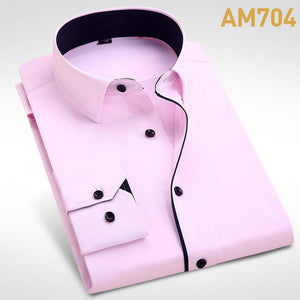 Formal Business Men Long Sleeve Dress Shirt Brand Male Fashion Solid Blackmodkily-modkily