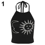 Women's Summer Fashion Sun Moon Print Halter Neck Sleeveless Vest Crop Topmodkily-modkily