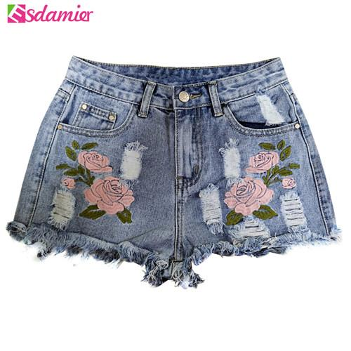 Fashion Embroidery Ripped Denim Shorts Floral High Waist Jeans Short Femme Frayedmodkily-modkily