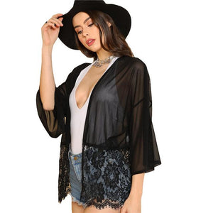 SHEIN Floral Lace Bottom Kimono Sheer Black 3/4 Sleeve Women Long Meshmodkily-modkily