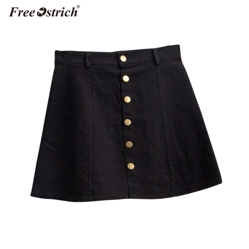Free Ostrich Denim Skirt 2018 Women Buttons Casual Solid Short Midi Skirtsmodkily-modkily