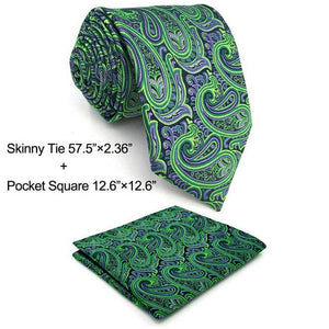 Extra long size Paisley Green Purple Black Mens Necktie Set 100% Silkmodkily-modkily