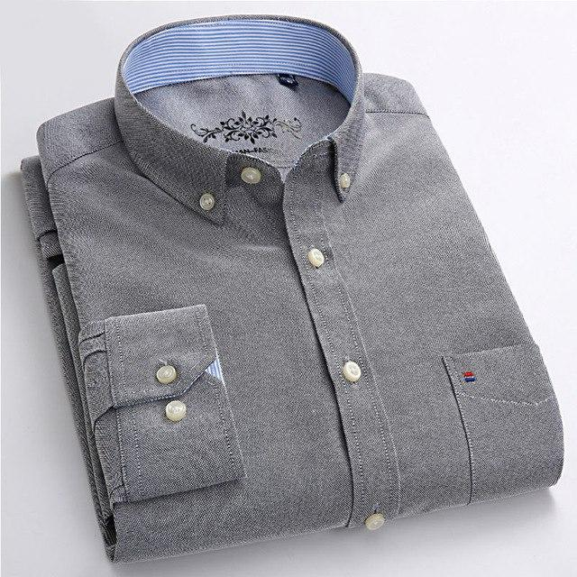 2018 plus size 5xl 60% Cotton Oxford Shirt New Men Casualmodkily-modkily