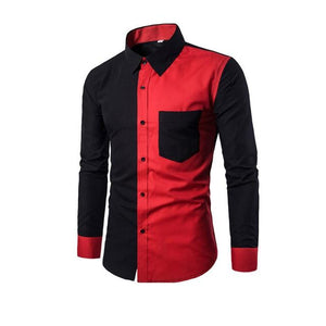 Fashion Men Long Sleeve Shirt Casual Patchwork Color Slim Fit Spring Autumnmodkily-modkily