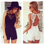 AS02 Summer Cute Female Overalls Clothing Open Back Chiffon Floral Short Womenmodkily-modkily