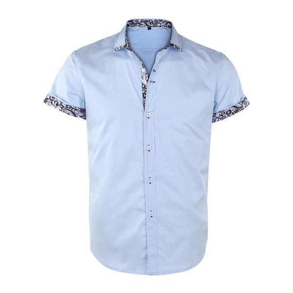 2018 Summer Short Sleeve Shirt Men Turn-down Collar Slim Fit Shirtsmodkily-modkily