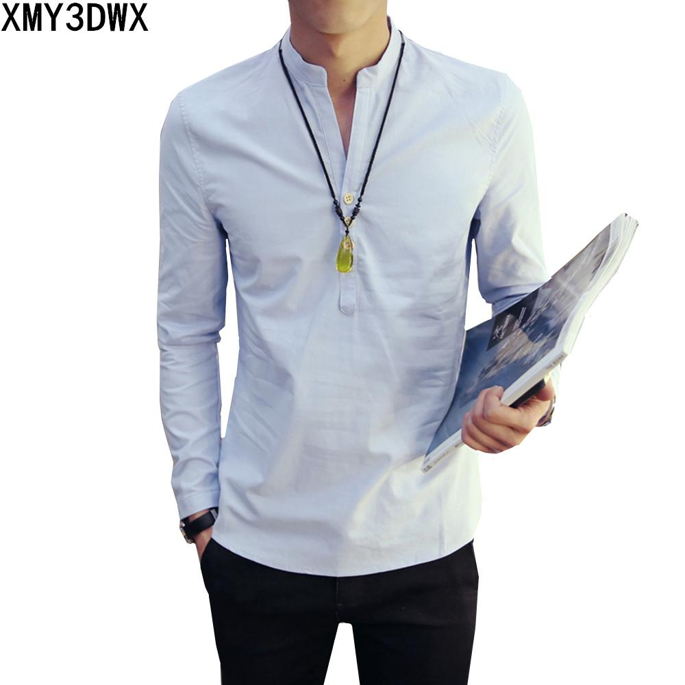 Chinese Style Linen Shirt Men Casual Breathable Soft Long Sleeve Casual Shirtmodkily-modkily
