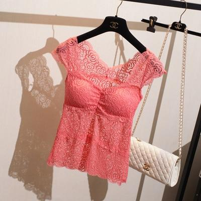 New Fashion 2016 Summer V-neck Hollow Out Sleeveless Lace Tank Top Womenmodkily-modkily