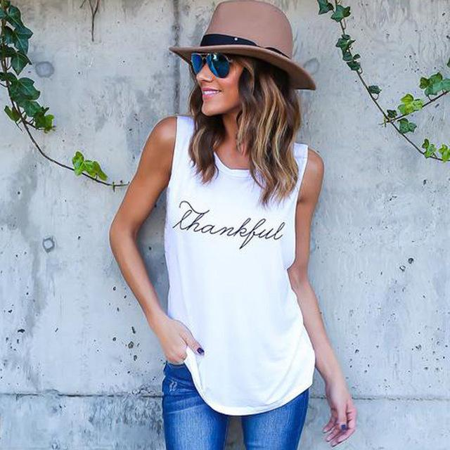 2018 Summer T-Shirt New Fashion Thankful Letter Print Top Casual Women Tankmodkily-modkily