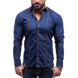 Fashion Slim Fit Casual Men Shirt Suit Single Breasted Long Sleevemodkily-modkily