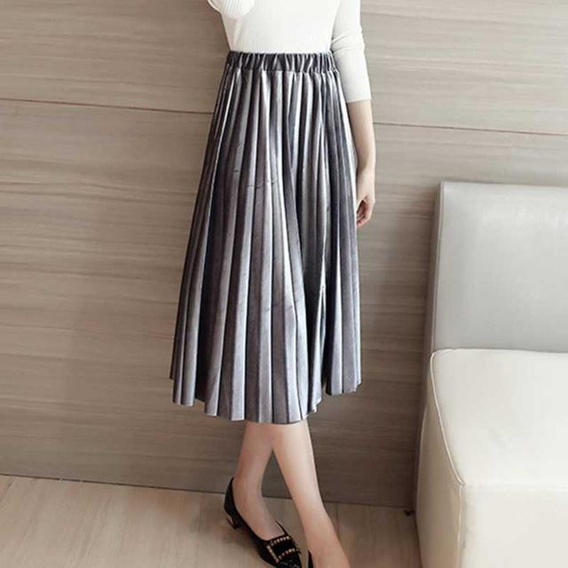2018 Women Spring New Fashion Skirt Vintage Female Solid Pleated Skirtmodkily-modkily