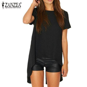 Hot Sexy Blusas 2018 Summer Women Chiffon Split Backless Short Sleeve Topsmodkily-modkily