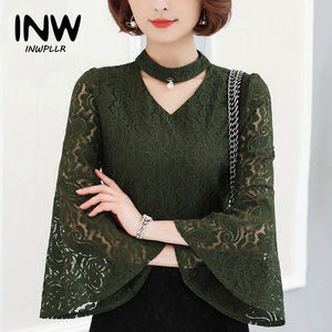 Female Blusas 2017 Autumn Blouses Women Fashion Lace Tops For Ladies V-neckmodkily-modkily