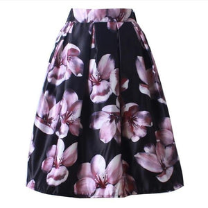 Neophil 2018 Retro Fashion Women Black White Pleated Flower Floral Print Highmodkily-modkily