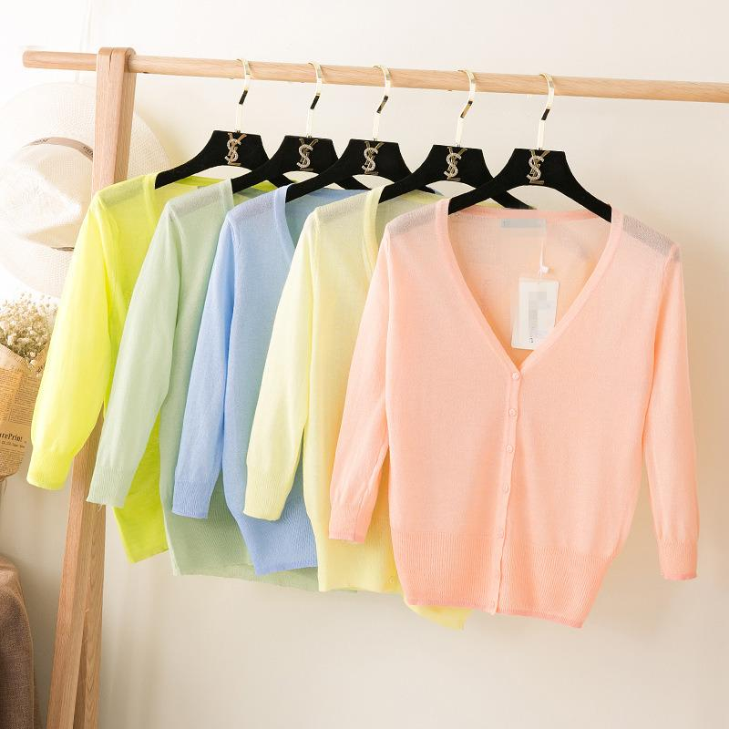 2018 New Summer Women Thin V-Neck Three Quarter Sleeve Casual Candy Colormodkily-modkily