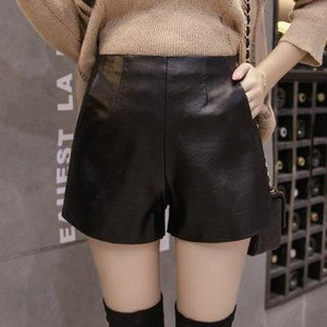 2018 New Arrival Women Wide Leg PU Faux Leather Shorts Spring Summermodkily-modkily