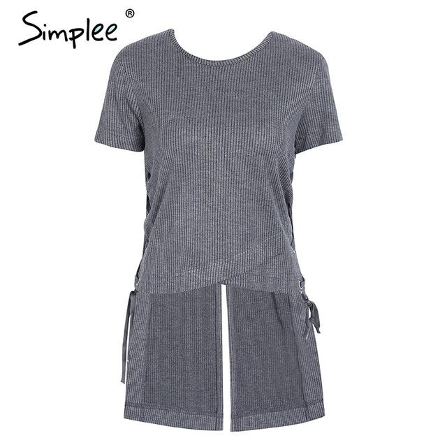 Simplee Lace up irregular women sweater top tees Winter short sleeve splitmodkily-modkily