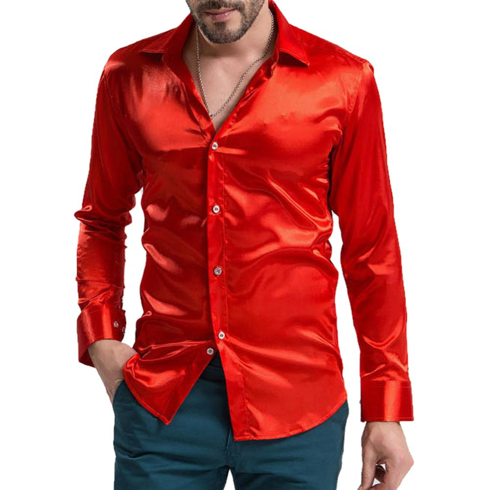 leisure Men's Clothing High-grade Emulation Silk Long Sleeve Shirts Men's Casual Shirtmodkily-modkily