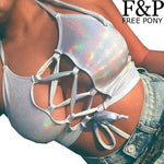 Silver Holographic Women Crop Top Rave Festival Top Clothes Outfits Punkmodkily-modkily