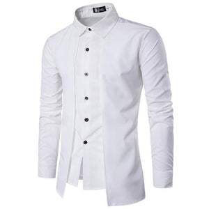 Black White Shirt Men Long Sleeve Patchwork Tuxedo Shirts spring Summer Single-Breastedmodkily-modkily