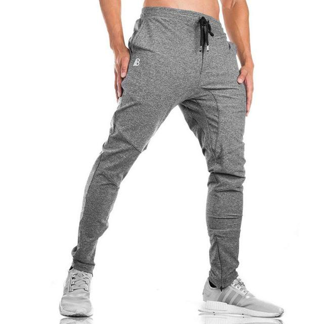 2018 Autumn new mens cotton Sweatpants gyms Fitness workout solid trousers malemodkily-modkily