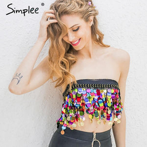 Simplee Black beading summer beach short top tees Backless sash punk cropmodkily-modkily