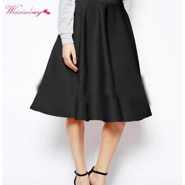 Vintage Women A-Line Stretch High Waist Skater Flared Pleated Swing Long Skirtmodkily-modkily
