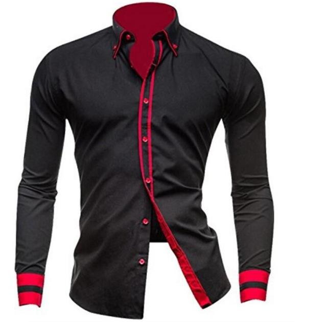 2018 Mens Casual Long Sleeve Shirt Men Solid Shirts Male Turn-Down Collarmodkily-modkily