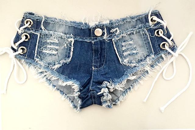 1pcs Womens Sexy jeans denim shorts 2018 Summer Fashion pure cotton lace-upmodkily-modkily