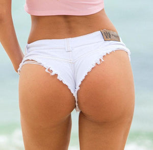 1pcs Women's Sexy super denim shorts 2018 Summer denim cotton G-string shortsmodkily-modkily