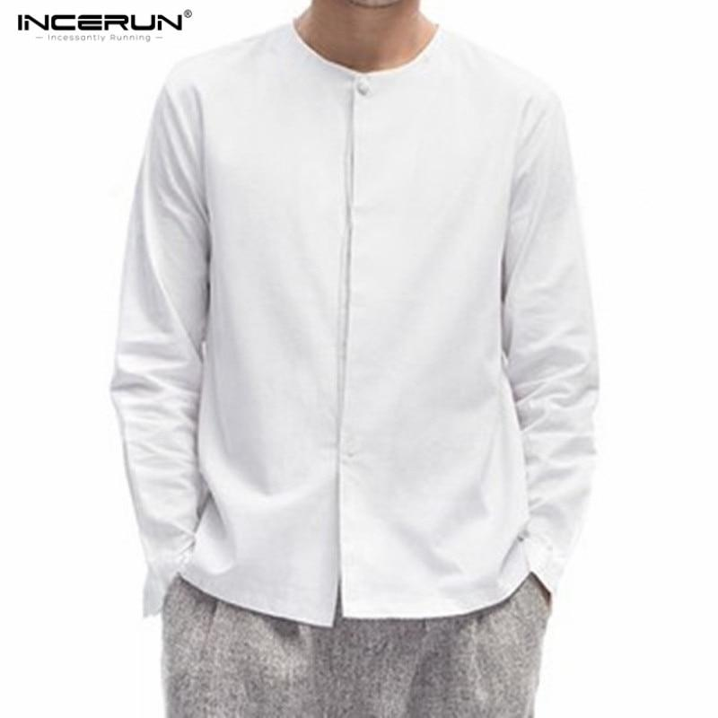 Men's collarless shirt Cotton Linen Shirts Men Casual Long-Sleeve Flat Chinesemodkily-modkily
