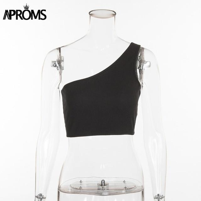 Aproms One Shoulder Cropped Tank Tops Female Knitted Crop Top Women Summermodkily-modkily