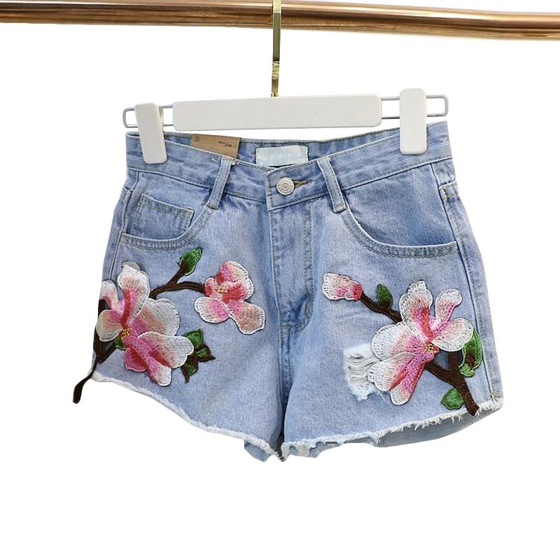 2018 New Women Summer Shorts Rose Floral Embroidery Denim Shorts Ripped Highmodkily-modkily