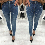 Pearl Beaded Casual Womens Skinny Jeans Denim Autumn High Waist Bleached Womenmodkily-modkily