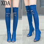 Women Boots summer autumn peep toe Over The Knee Boots qualitymodkily-modkily