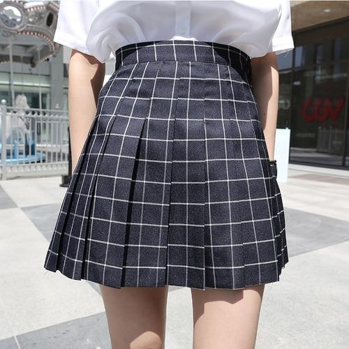Korean Style Vintage Plaid Pleated Simple A-line College Wind 2018 New Fashionmodkily-modkily
