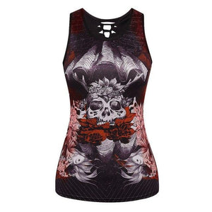 Women Casual Skull Tank Top Ladies O neck Slim Black Tank Hollowmodkily-modkily