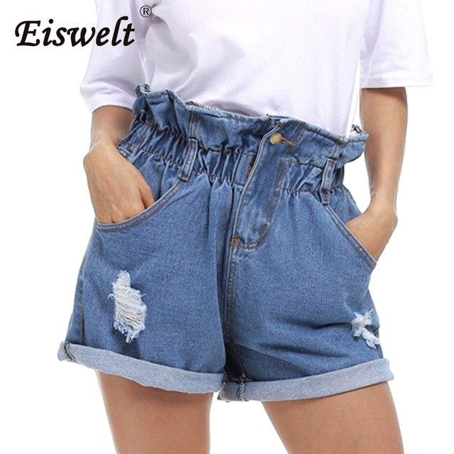 High Waist Crimping Denim Shorts Women 2018 Europe Style New Fashion Brandmodkily-modkily