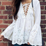 Women Blouse Sexy V-neck Lace Up Tunic Top Spring Fall Flaremodkily-modkily