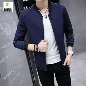 Korean Slim Spring Autumn Casual Jacket Men Thin Stand Neck Solid Colormodkily-modkily
