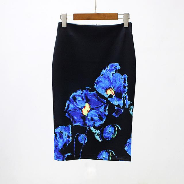 2017 Women Skirts Suede Flowers Black Pencil Skirt Female Printing High Waistmodkily-modkily