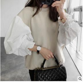 2018 Autumn Fashion New Round Neck Lantern Sleeve Women's Split Jointmodkily-modkily
