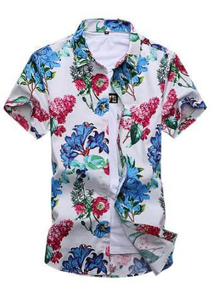 2017 Short Sleeve Shirt Men Summer Fashion Casual Plus Size Mens Floralmodkily-modkily
